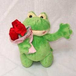 żabka z bukietem róż  21cm
