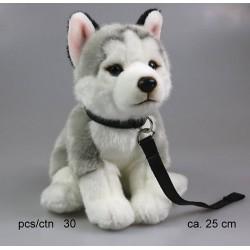 Pies husky ze smyczą 25cm