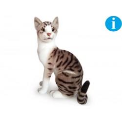 Kot siedzący biało szary 30cm